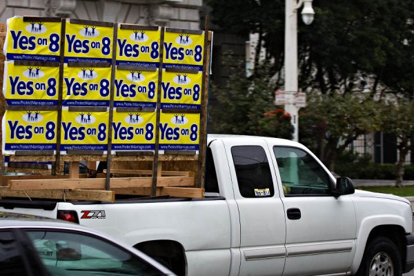 People literally went crazy and had the yes on 8 signs everywhere possible.