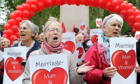Anti-same sex marriage activists demonstrating